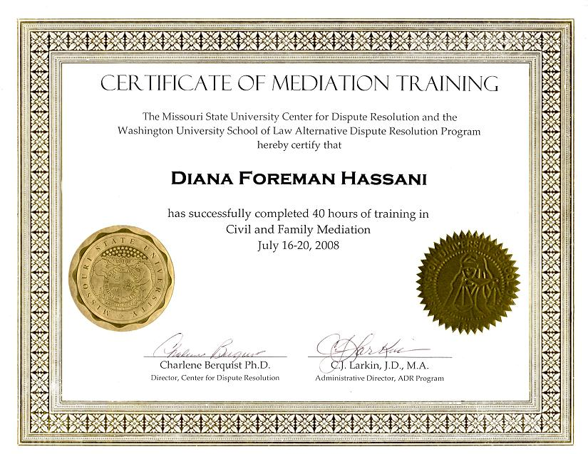 Certificate of Mediation
