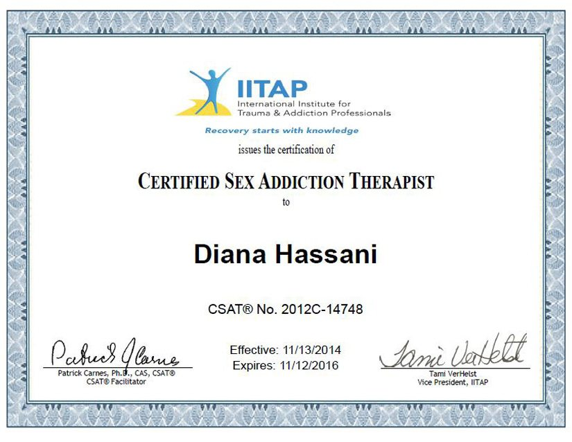 Certified Sex Addiction Therapist